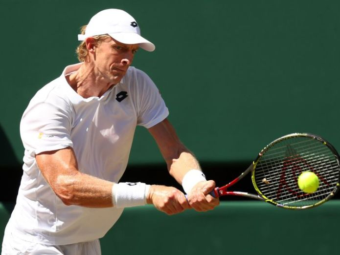Kevin Anderson in action during the men's singles final at Wimbledon  Djokovic defeats Anderson in straight sets to win Wimbledon skynews wimbledon kevin anderson 4362613