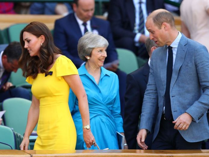 The Duchess of Cambridge and Prince William with Theresa May in the Royal Box