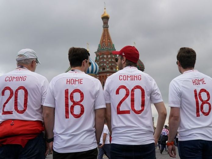England fans sing songs in Nikolskaya St near Red Square ahead of tonight's World Cup semi-final game between England and Croatia on July 11, 2018 in Moscow, Russia.   Russia came out on top for crumbling 'myths and prejudices' skynews world cup england croatia 4359235