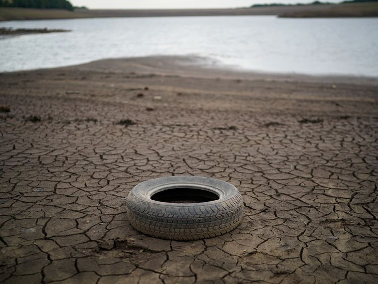 The dried up bed of Yarrow reservoir near Bolton as the heatwave continues across the UK on July 23, 2018 in Bolton, England