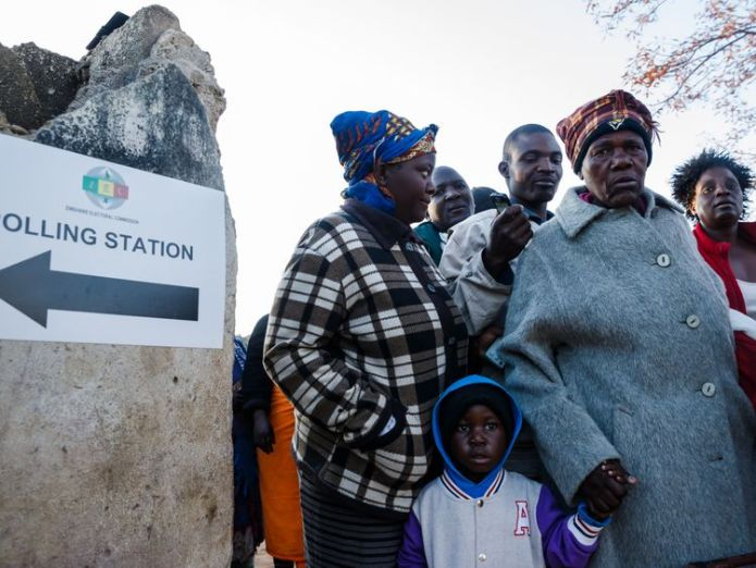 The first elections without Robert Mugabe marks an historic moment for the country  Zimbabweans vote in first election without Robert Mugabe on ballot paper skynews zimbabwe election 4375627