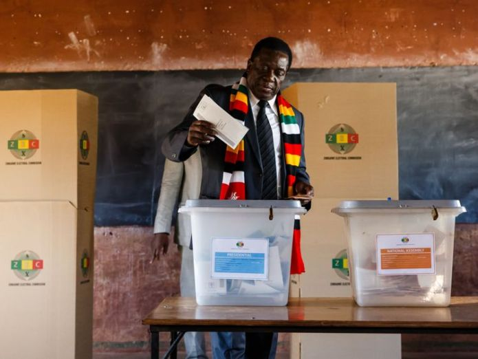 The president cast his vote at a school in Kwekwe  Zimbabweans vote in first election without Robert Mugabe on ballot paper skynews zimbabwe emmerson mnangagwa 4375625
