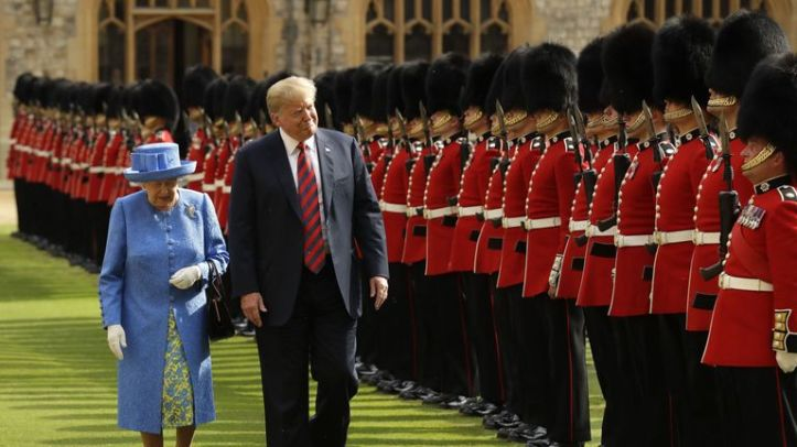 The Queen and Donald Trump inspect a Guard of Honour at Windsor Castle