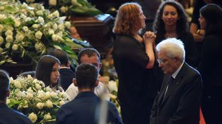 Italian president Sergio Mattarella was cheered as he entered the state funeral where he spoke to every victims' family  Italy to launch 'enormous' infrastructure project after Genoa bridge collapse skynews sergio matarella genoa 4393418