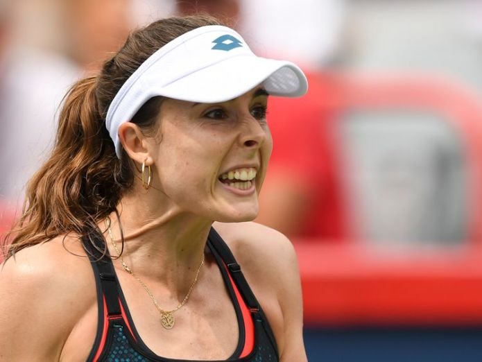 French tennis star Alize Cornet was penalised for flashing her sports bra on court at the US Open  Alize Cornet brushes off sexism row over shirt change incident skynews alize cornet us open 4404512