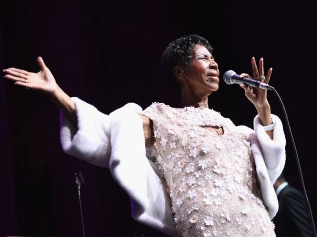 Aretha Franklin performs onstage in 2017 in New York
