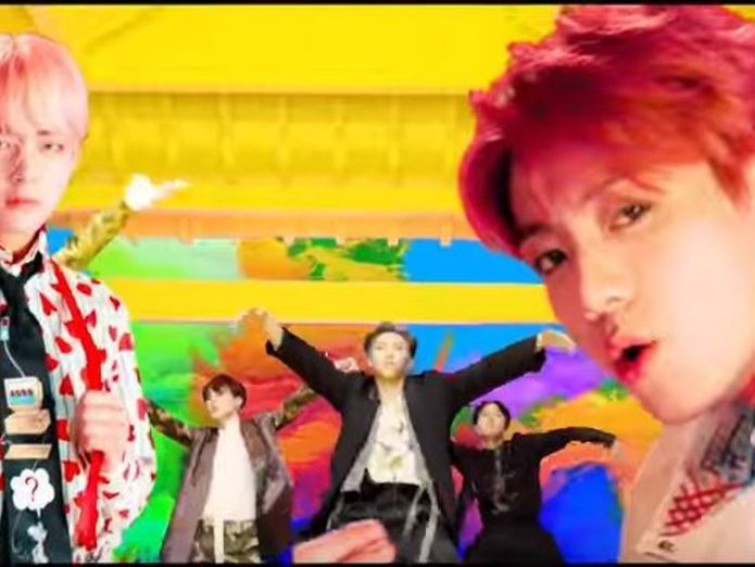 The video features giraffes, a giant shark and psychedelic sunset. Pic: BTS/YouTube  K-pop band BTS smashes Taylor Swift's YouTube record skynews bts south korea k pop 4403466