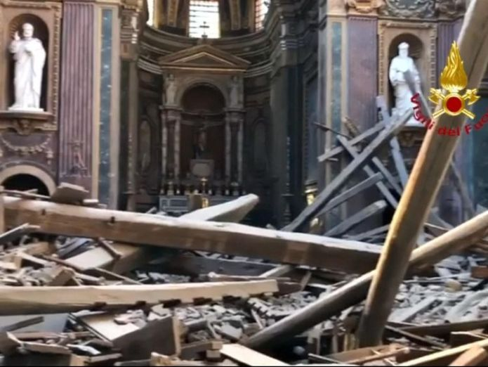 Beams and tiles were scattered over the floor  Roof of historic Rome church San Giuseppe dei Falegnam collapses skynews church rome collapse 4406107