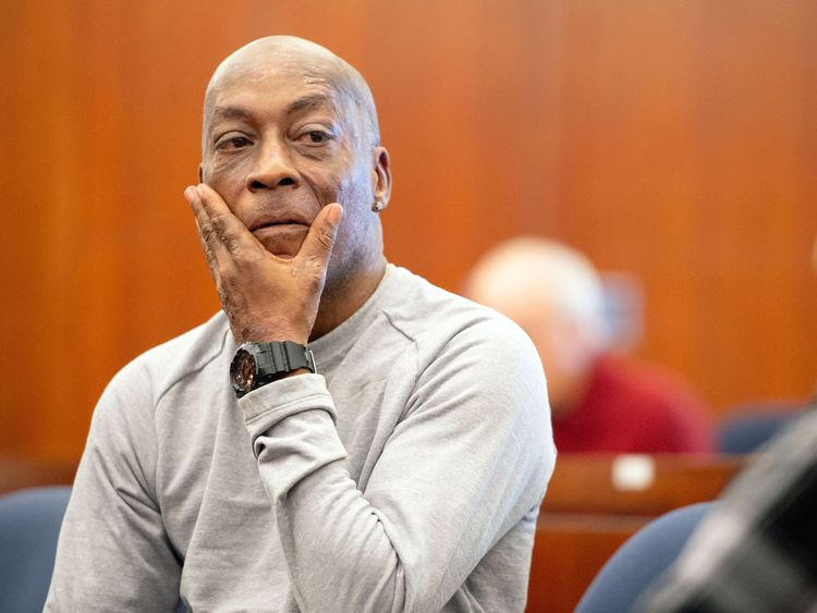 Dewayne Johnson reacts after hearing the verdict to his case against Monsanto