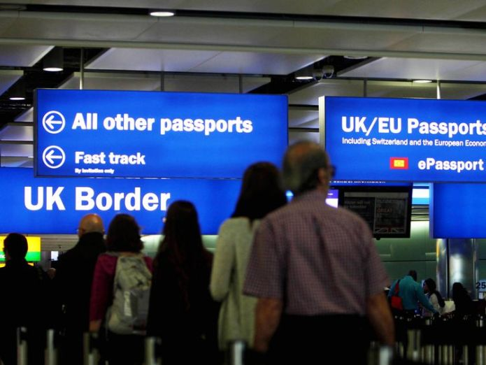 Border Force hit its 45 minute waiting time target on just one day in July  New visas for non-EU migrants to plug fruit-picking shortfall skynews heathrow virgin atlantic 4388738