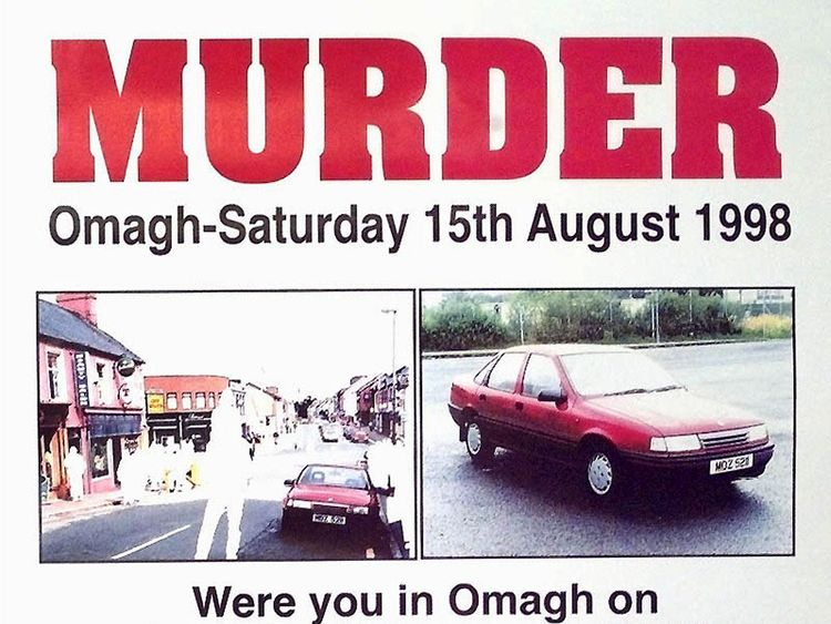 A poster asking for information about the car which held the bomb