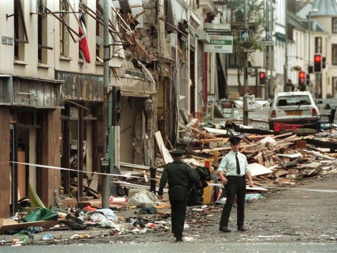 Police at the scene of the Omagh bombing