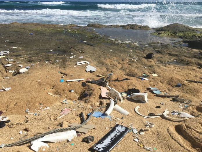Plastics washed up on the shore in Hawaii  Degrading plastics 'release greenhouse gases', study shows skynews plastics ocean rescue 4378188