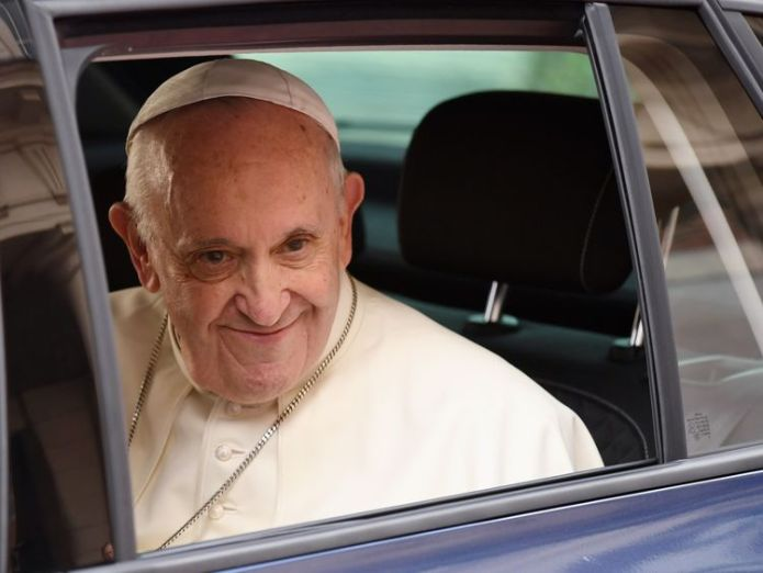 The Pope arrived at Dublin Castle in a modest Skoda car  Francis 'compares cover-up to human excrement' during meeting with abuse survivors skynews pope ireland 4400617