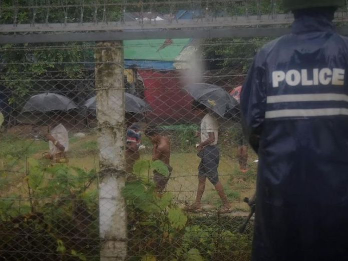 An estimated 6,000 Rohingya Muslims are stranded in a flooded camp in 'no man's land'  It's still not safe for Myanmar's refugees to return skynews rohingya myanmar bangladesh 4397875