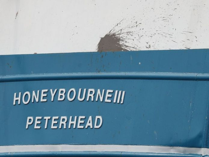 A splatter mark on the stern of the Honeybourne 3, a Scottish scallop dredger, in dock at Shoreham, West Sussex, following clashes with French fishermen  Scallop wars rage on as French fishermen catch 44 rare tuna off Jersey coast skynews scottish scallop dredger 4404517