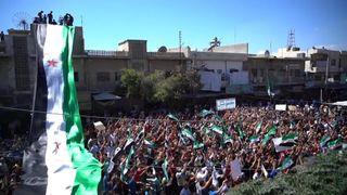 Protests on the streets of Idlib, Syria  Idlib safe zone deal 'prevents humanitarian crisis' in Syria, says Erdogan skynews idlib syria protest 4421461