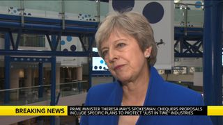 Theresa May talking to camera about Brexit.  UK drivers could need permits to drive in Europe under 'no-deal' Brexit scenario skynews theresa may prime minister 4417982