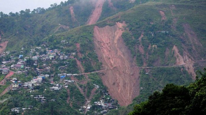 A view of landslide caused at the height of Typhoon Mangkhut   Typhoon Mangkhut: Storm's path of destruction skynews typhoon mangkhut philippines 4423748