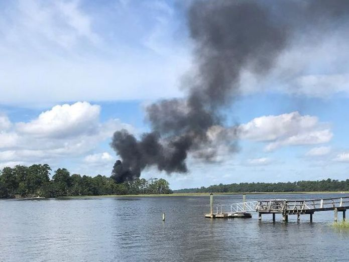Smoke rises at the site of a F-35 jet crash in Beaufort, South Carolina  Pentagon grounds global fleet of F-35 fighter jets after first ever crash skynews f 35 crash 4437089