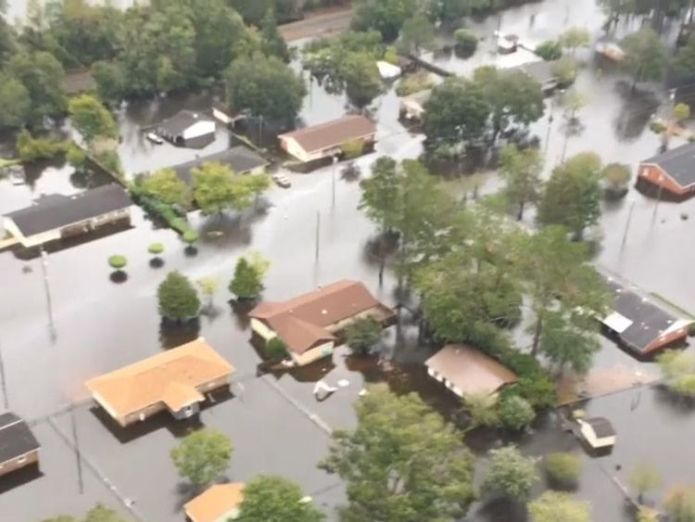 North Carolina from the air after being hit by floods in the aftermath of Hurricane Florence  Deal changes outlook for BBC weather forecaster MeteoGroup skynews florence us north carolina 4422743