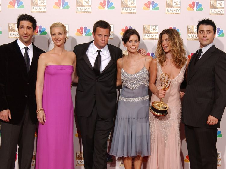 Matthew Perry, center, with the cast of the US sitcom Friends
