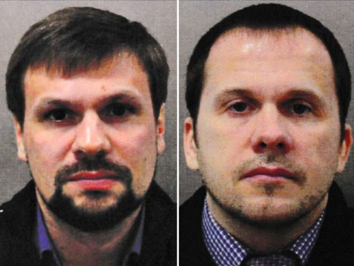 Ruslan Boshirov (left) and Alexander Petrov have been named as suspects  Suspect Alexander Mishkin was 'honoured by Vladimir Putin' skynews novichok suspects 4412249
