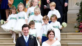 The page boys and bridesmaids followed the royal couple  Robbie Williams entertains royal wedding guests with surprise performance skynews eugenie royal wedding 4451216