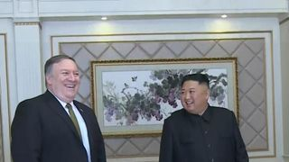 US secretary of state Mike Pompeo meets Kim Jong Un in Pyongyang  Kim Jong Un 'wants Pope Francis to visit North Korea' skynews mike pompeo kim jong un 4446061