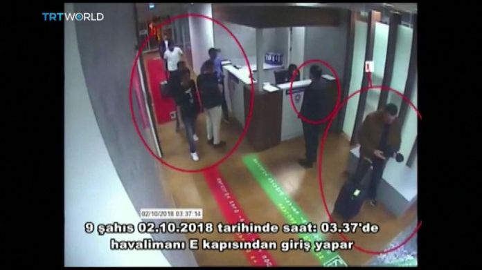 Saudis linked to Jamal Khashoggi disappearance passing through security checkpoint at Istanbul airport  15-man Saudi 'hit squad' pictured on day journalist disappeared skynews jamal khashoggi saudi consulate 4448822