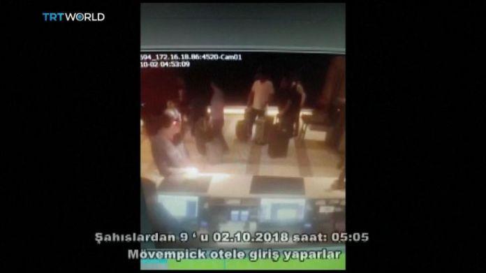 Saudis linked to Jamal Khashoggi's disappearance at hotel lobby  15-man Saudi 'hit squad' pictured on day journalist disappeared skynews jamal khashoggi saudi consulate 4448829