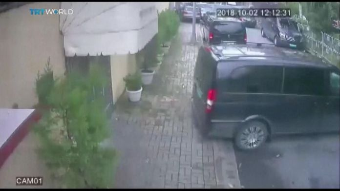 Vans and vehicles leave the Saudi consulate in Istanbul  15-man Saudi 'hit squad' pictured on day journalist disappeared skynews jamal khashoggi saudi consulate 4449005