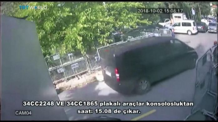 A black van arrives at the Saudi consulate in Istanbul  15-man Saudi 'hit squad' pictured on day journalist disappeared skynews jamal khashoggi saudi consulate 4449013