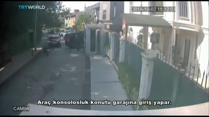 A black van enters a garage at the Saudi consulate in Istanbul  15-man Saudi 'hit squad' pictured on day journalist disappeared skynews jamal khashoggi saudi consulate 4449017