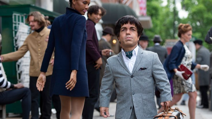 My Dinner with Herve explores the unlikely friendship between struggling journalist Danny Tate and French actor Herve Villechaize - Peter Dinklage on set. Pic: HBO