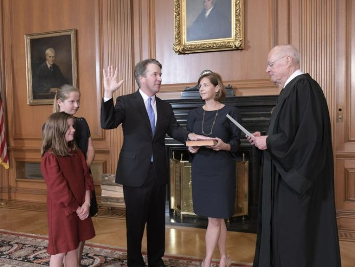 Judge Kavanaugh being sworn in. Pic: Fred Schilling, Collection of the Supreme Court of the United States  Sex assault claims against Brett Kavanaugh 'a hoax' skynews brett kavanaugh being sworn in 4445748