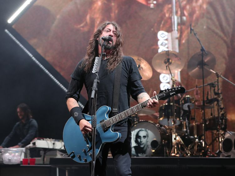 Dave Grohl of Foo Fighters performs on stage during Cal Jam 18 at Glen Helen Regional Park on October 06, 2018 in San Bernardino, California