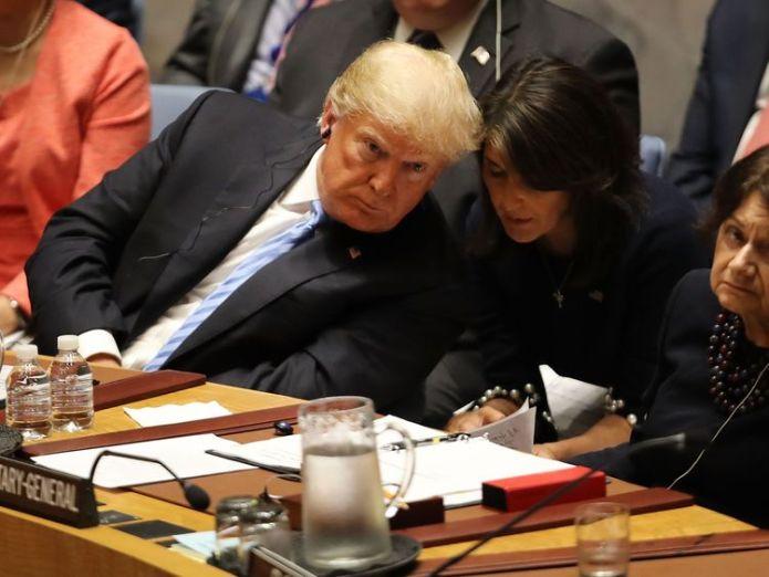 Mr Trump and Ms Haley at a United Nations Security Council meeting in New York  Trump accepts resignation of UN ambassador Nikki Haley skynews donald trump nikki haley 4448257