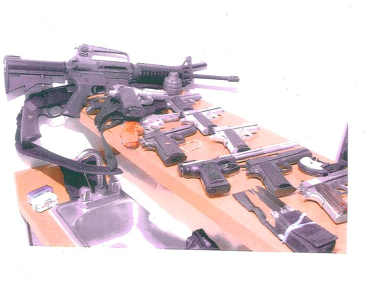Some of the weapons seized from Bulger's apartment when he was captured in 2011