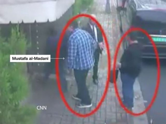 Al Madani was reportedly captured entering the consulate in different clothes. Pic: CNN