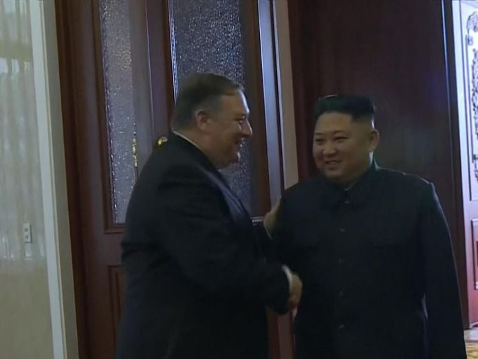 The mood at the meeting appeared convivial  US-North Korea deal to be a 'long haul', official says skynews mike pompeo kim jong un 4446086
