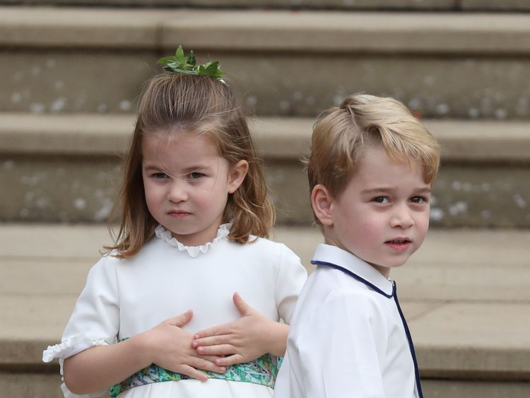 Princess Charlotte and Prince George arrive for the wedding of Princess Eugenie to Jack Brooksbank at St George's Chapel in Windsor Castle, Britain October 12, 2018. Steve Parsons/Pool via REUTERS