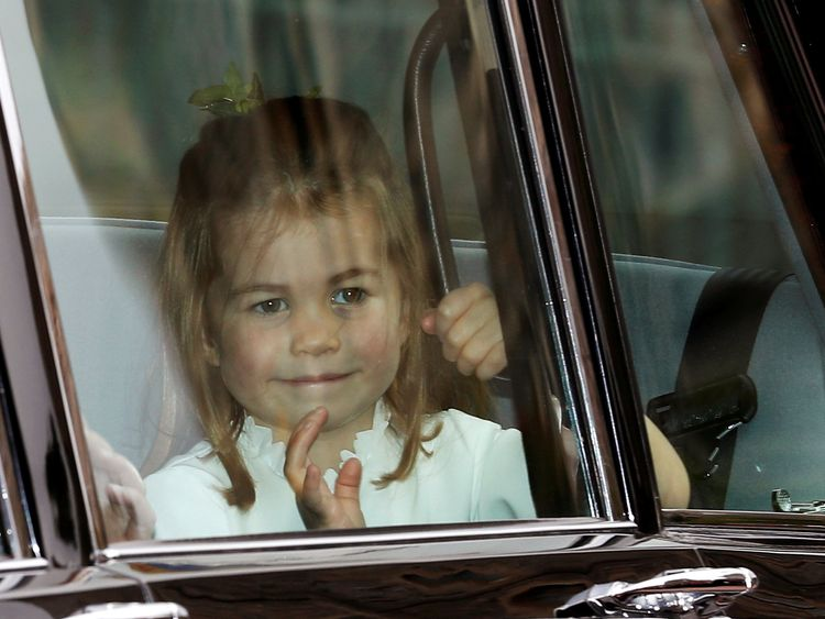Princess Charlotte arrives for the wedding
