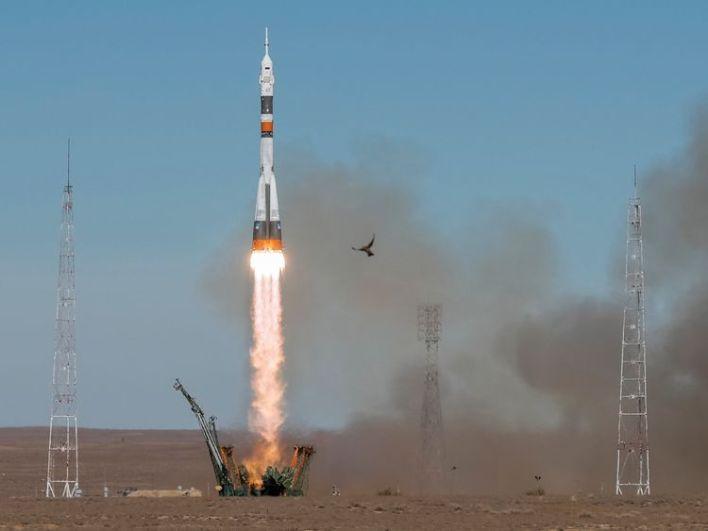 The Soyuz MS-10 spacecraft carrying the crew of astronaut Nick Hague of the U.S. and cosmonaut Alexey Ovchinin of Russia blasts off