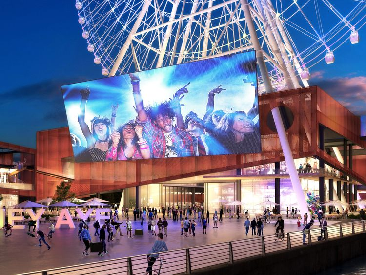 A generated image of the visitor centre and LED screen at the base of the observation wheel