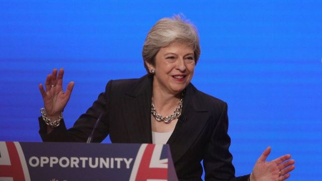 Prime Minister Theresa May makes her speech at the Conservative Party annual conference