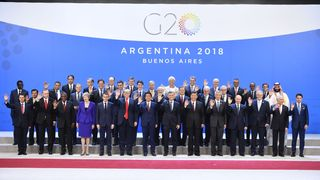Participants of the G20 Leaders' Summit in Buenos Aires, pose for a family photo