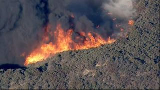 Aerial footage of raging wildfire