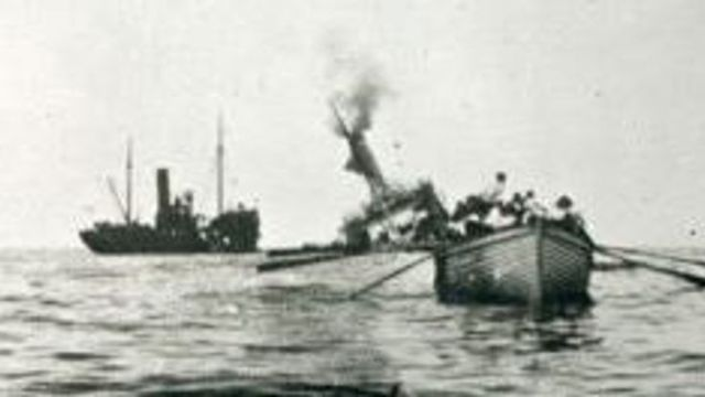 Picture: picture of the HT Aragon sinking from the Imperial War Museum