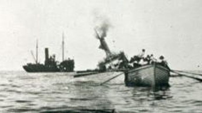 Picture: picture of the 'HT Aragon' sinking from the Imperial War Museum   The village that brought its fallen soldiers back to life skynews meek ww1 snettisham 4480514